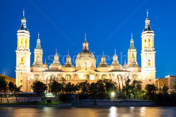 Zaragoza Basilica Cathedral at dusk Stock photo © vichie81