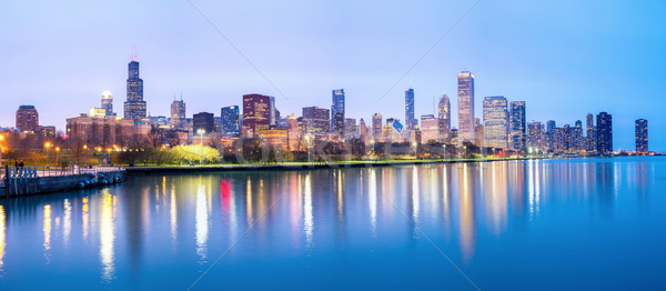 Chicago downtown and Lake Michigan Panorama Stock photo © vichie81