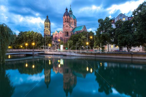 St. Lukas pink church Munich Stock photo © vichie81