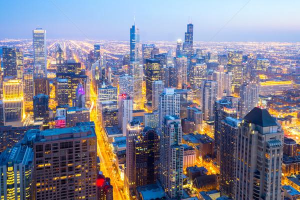 Сток-фото: антенна · Чикаго · город · центра · сумерки