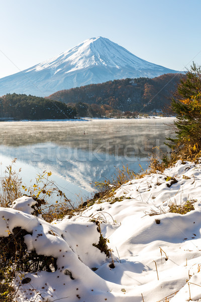 Neve fuji tarde outono lago montanha Foto stock © vichie81
