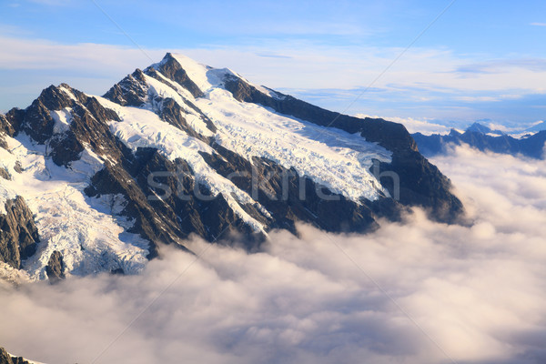 Mountain Cook Peak with mist landscape from Helicopter, New Zeal Stock photo © vichie81