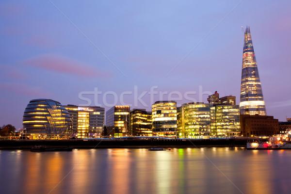 ロンドン 市 ホール 川 テムズ川 夕暮れ ストックフォト © vichie81