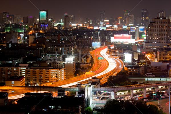 Bangkok karayolu akşam karanlığı kentsel zaman Stok fotoğraf © vichie81