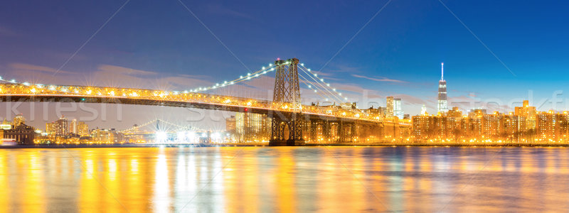 Williamsburg Bridge at dusk Panorama  Stock photo © vichie81