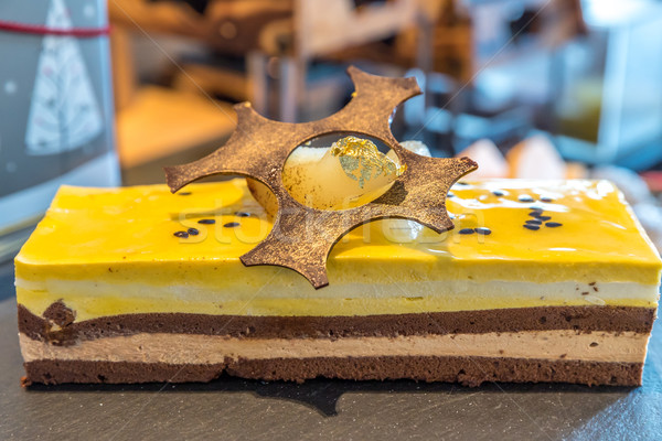 Mus czekoladowy ciasto domowej roboty górę żywności tablicy Zdjęcia stock © vichie81