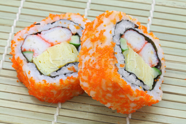 Photo stock: Maki · sushis · bambou · plat · alimentaire · poissons