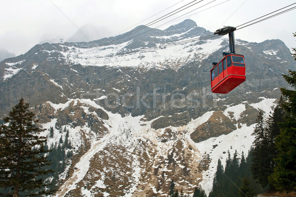Red cable car Switzerland Stock photo © vichie81
