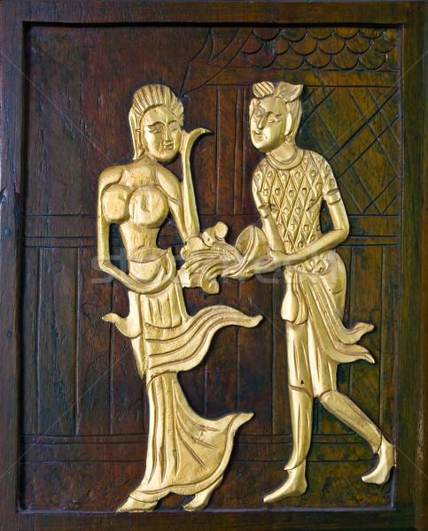 Thai hagyományos fából készült ajtó fa arany Stock fotó © vichie81