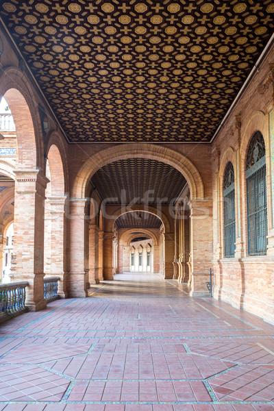 Corridor of espana plaza seville Stock photo © vichie81
