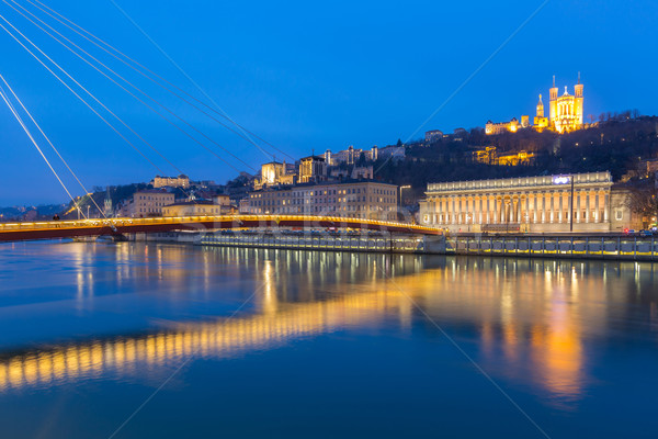 Lione fiume basilica notte Francia panorama Foto d'archivio © vichie81