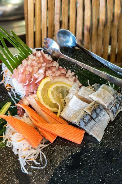 Sashimi zestaw tablicy ryb zdrowia tle Zdjęcia stock © vichie81