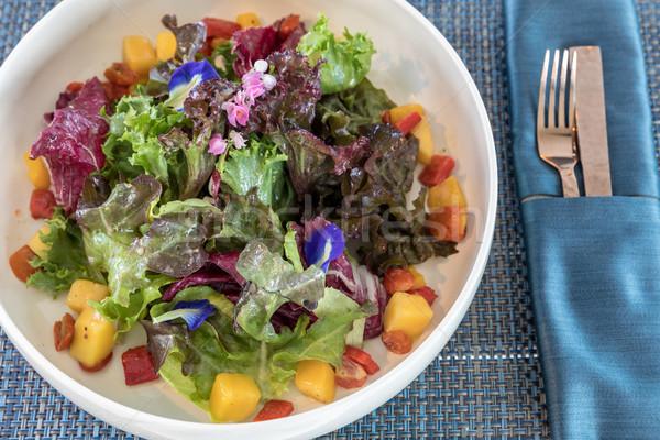 Foto d'archivio: Verde · insalata · frutta · fresca · frutta · salute · pollo