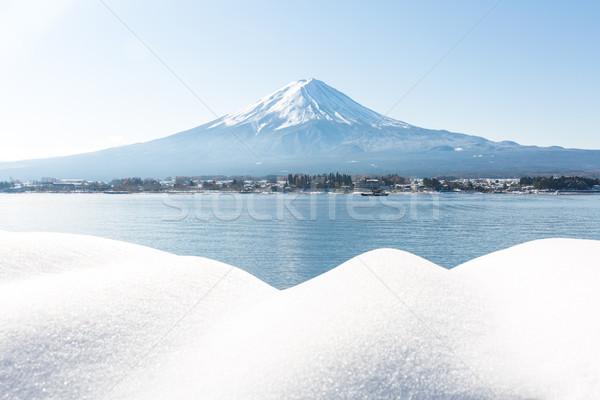 Foto stock: Fuji · montanha · neve · água · fundo · verão
