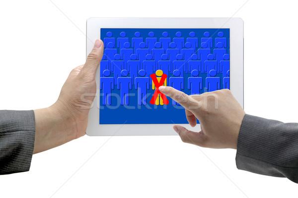 Empregado recrutamento homem mão tocar pessoa Foto stock © vichie81