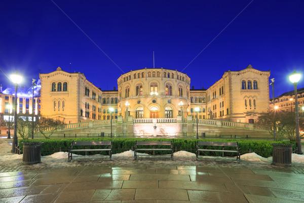 Oslo parlamento Norvegia città notte Foto d'archivio © vichie81