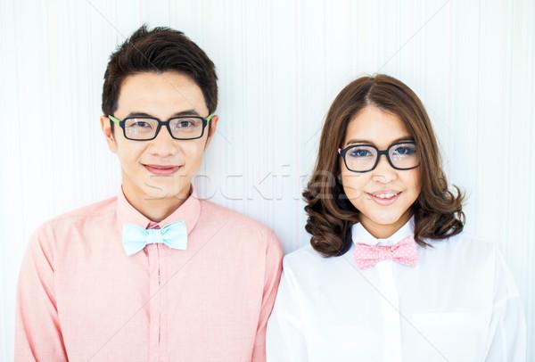 Parejas salón feliz jóvenes inteligentes vestido ocasional Foto stock © vichie81