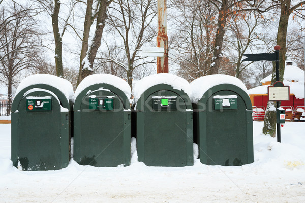 Hulladék tároló tél tájkép nagy szemét Stock fotó © vichie81