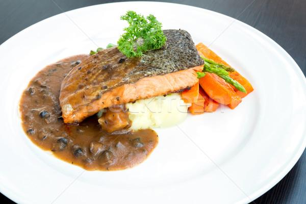 grilled salmon steak Stock photo © vichie81