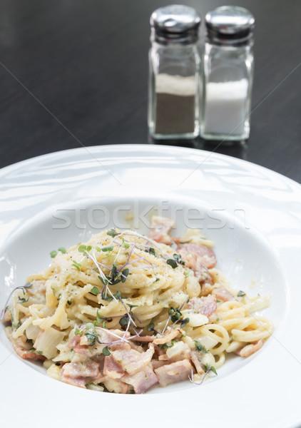 Spaghetti cucina italiana alimentare uovo cena Foto d'archivio © vichie81