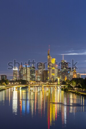 Duitsland Frankfurt skyline hoofd- zonsondergang Stockfoto © vichie81