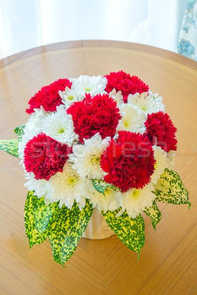 Rot Nelke Bouquet Hochzeit Gruß Feier Stock foto © vichie81