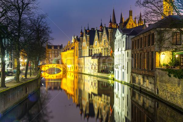 Bélgica crepúsculo histórico medieval edifícios canal Foto stock © vichie81