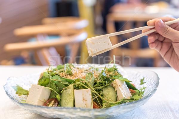 Tofu salada saúde ovo fundo jantar Foto stock © vichie81