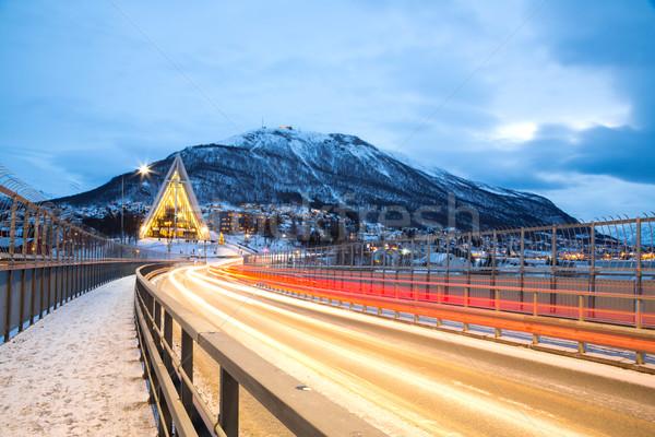 Арктика собора Швеция Церкви Норвегия сумерки Сток-фото © vichie81