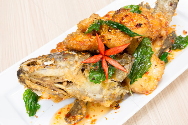 sweet and sour spicy sauce grouper fish Stock photo © vichie81