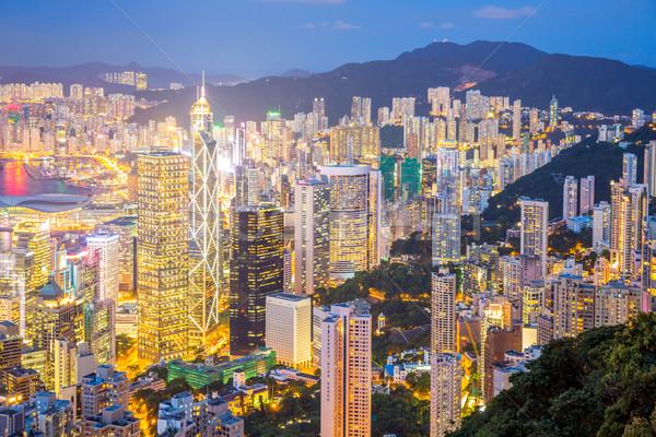 Aerial Hong Kong Skyline at dusk Stock photo © vichie81