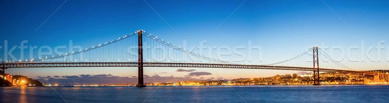 Lisbona ponte panorama cityscape 25 ponte sospeso Foto d'archivio © vichie81