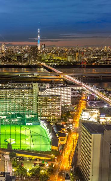 Tóquio pôr do sol iluminação Japão rádio linha do horizonte Foto stock © vichie81