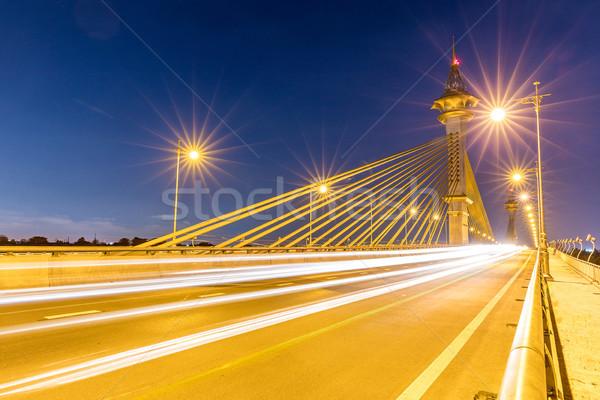 Puente Tailandia puesta de sol cielo agua construcción Foto stock © vichie81