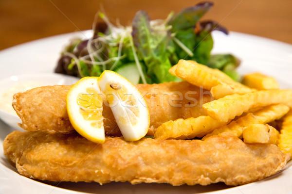 Balık cips gıda restoran akşam yemeği Stok fotoğraf © vichie81