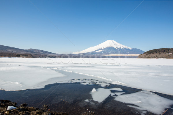 Stockfoto: Mount · Fuji · meer · winter · sneeuw · berg