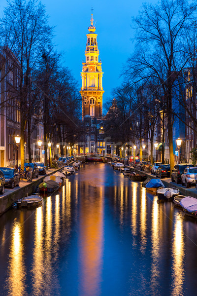 Sur iglesia Amsterdam anochecer agua casa Foto stock © vichie81