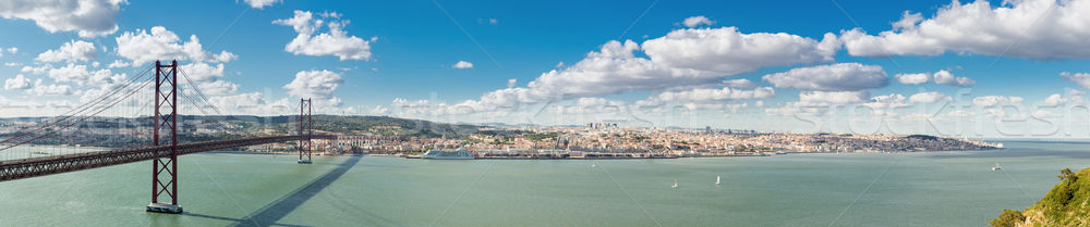 Panorama Lisbona ponte cityscape 25 ponte sospeso Foto d'archivio © vichie81