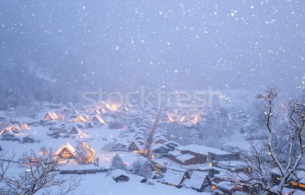 Kar yağışı Japonya Bina ışık kış mimari Stok fotoğraf © vichie81