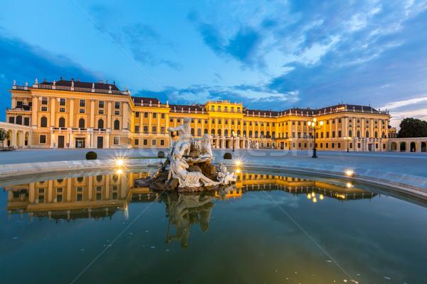 Pałac Wiedeń Austria zmierzch budynku oświetlenie Zdjęcia stock © vichie81