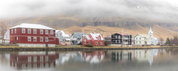 Stockfoto: Stadsgezicht · IJsland · hemel · gebouw · stad · sneeuw