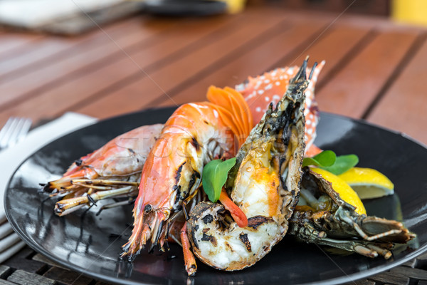 delicious grilled seafood platter Stock photo © vichie81