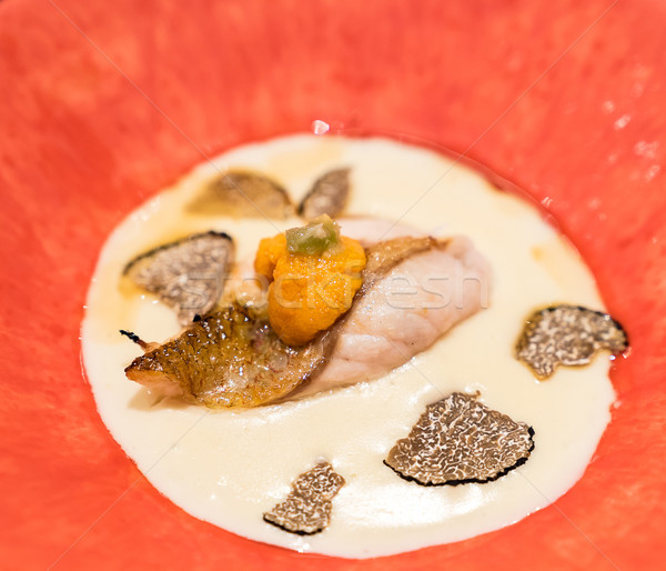 Grill Seabass with sea urchin Stock photo © vichie81