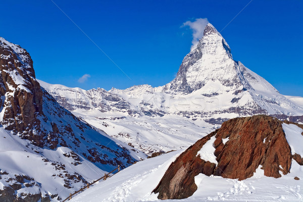 Landscape of Matterhorn peak with Red rock located at Gornergrat Stock photo © vichie81