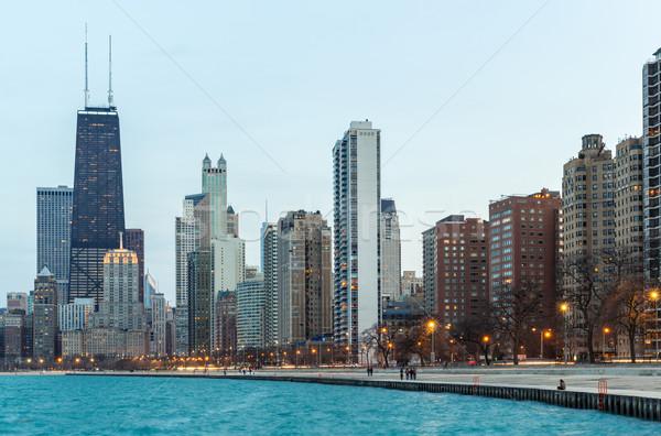 Stock fotó: Chicago · alkonyat · belváros · tó · Michigan · épület