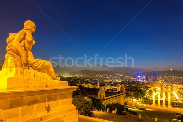 Barcelona alkonyat kilátás Spanyolország épület város Stock fotó © vichie81