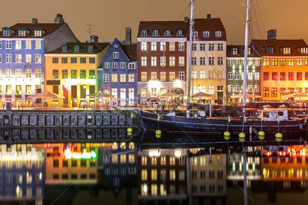Copenhague Dinamarca novo porta noite água Foto stock © vichie81
