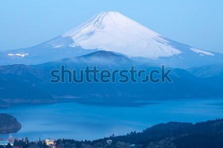 Fuji górskich jezioro Świt zimą niebo Zdjęcia stock © vichie81