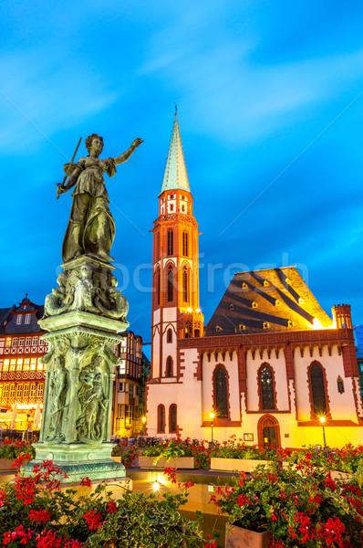 города квадратный Франкфурт Германия старый город статуя Сток-фото © vichie81