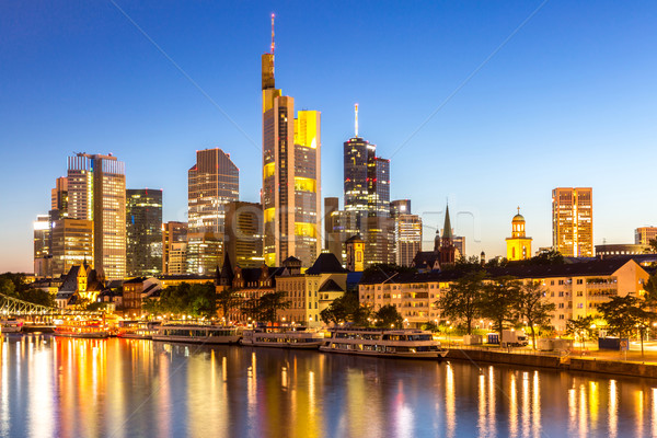 Frankfurt Skyscraper Germany dusk Stock photo © vichie81